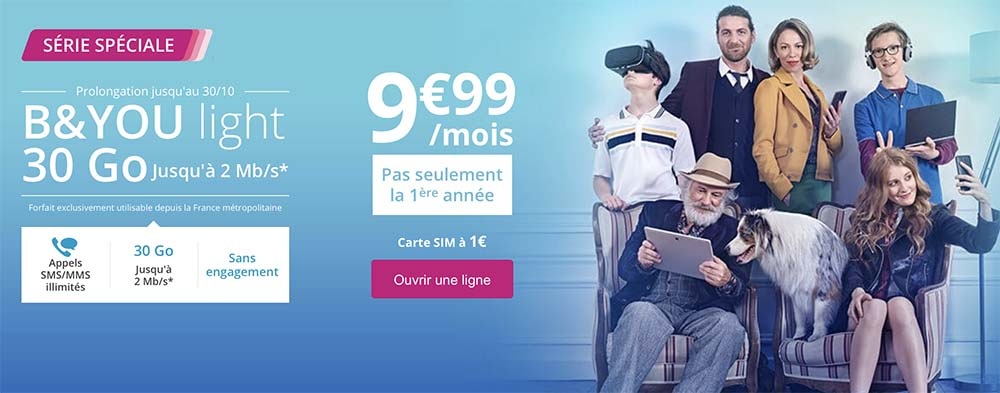 Bouygues : offre Spéciale B&YOU light 30Go jusqu'à 2Mb/s