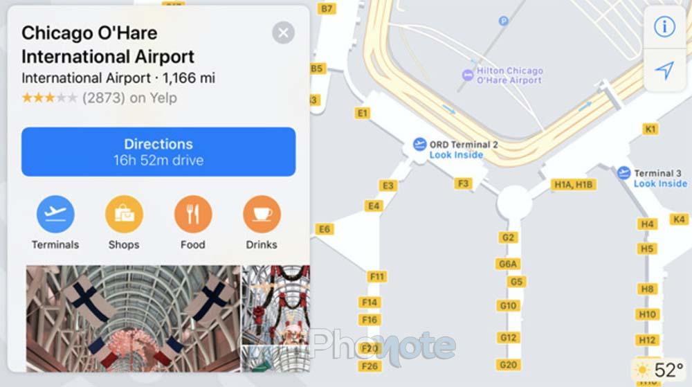 Les cartes internes des aéroports américains arrivent dans Apple Plans