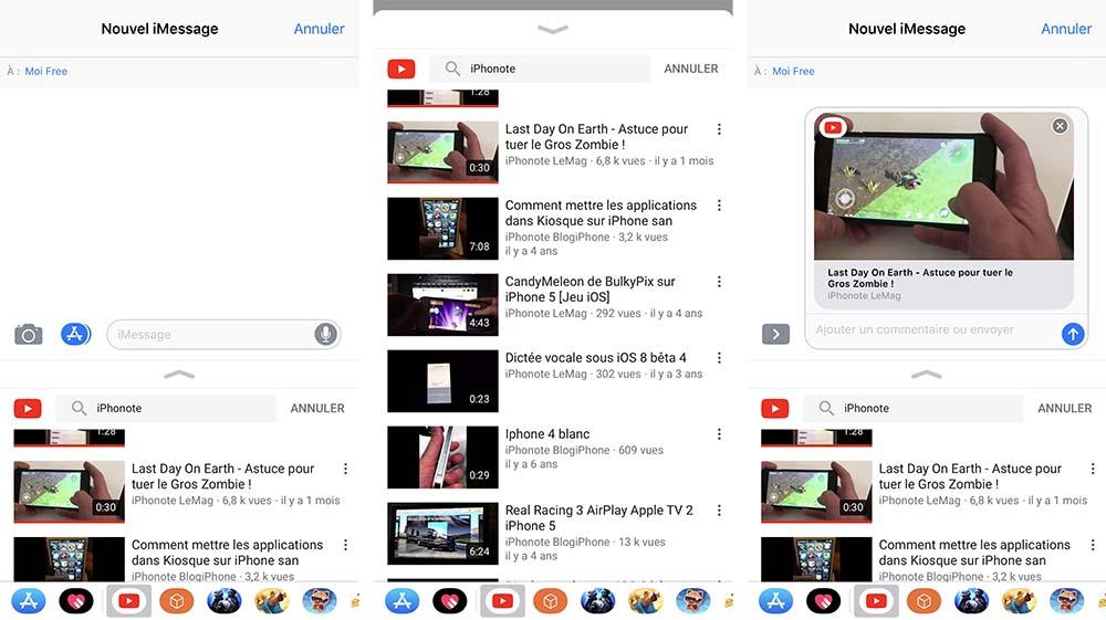 YouTube ajoute un bouton de partage directement dans iMessage