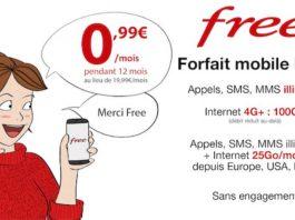 Promo : forfait Free Mobile 100 Go + appels/SMS/MMS illimités à 0,99€/mois pendant un an