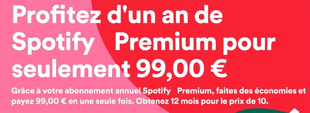 Spotify offre un abonnement annuel premium pour 99 €