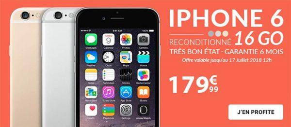 vente flash iphone 6 reconditionn 16go 179 iphone 6s 64 128 go d s 279. Black Bedroom Furniture Sets. Home Design Ideas