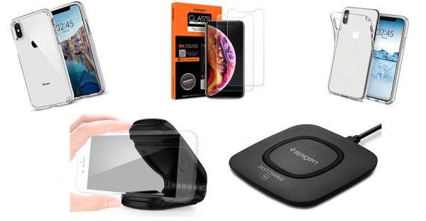 le support Turbulence, un chargeur Qi SPigen, et deux verres trempés (iPhone  XS). Pour profiter des promos, vous devez ajouter les accessoires
