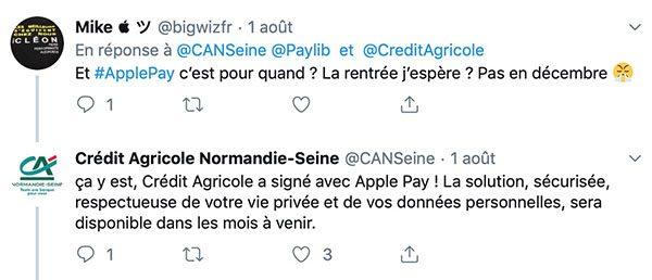 Apple Pay au Crédit Agricole