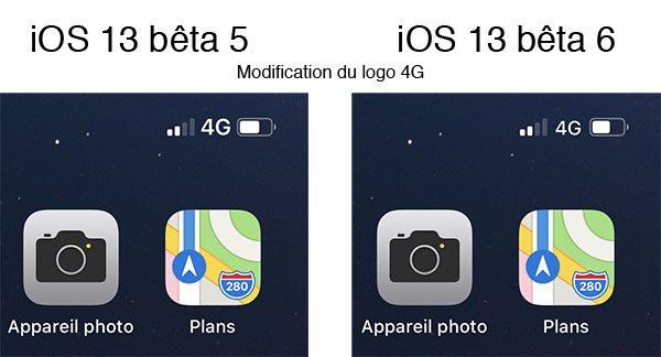 iOS 13 : logo 4G