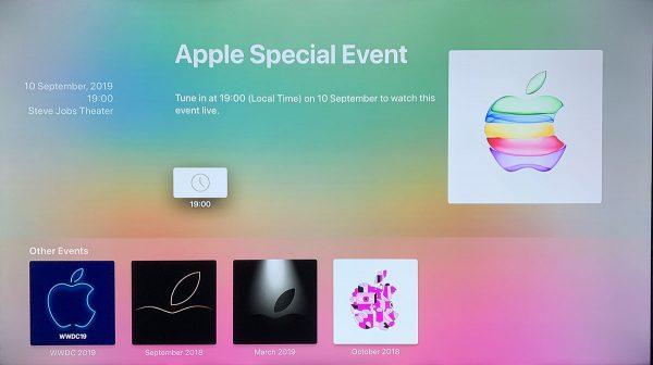 Apple TV - application Évènements