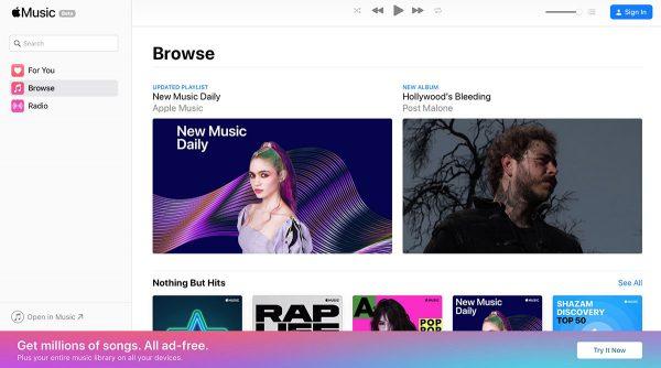 Apple Music, nouveau lecteur Web en bêta