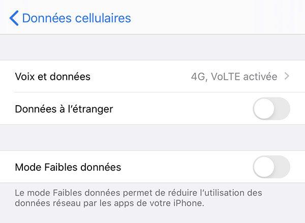 iOS 13 - mode Faibles données (Low Data)