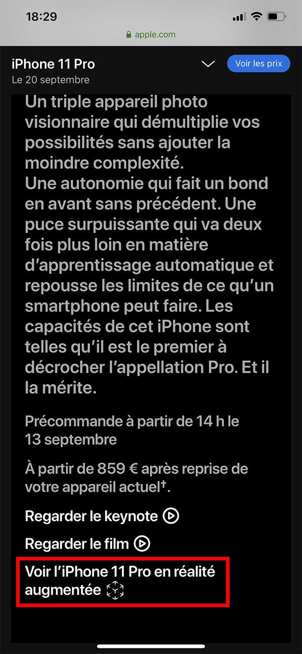 Test iPhone 11 en réalité augmentée