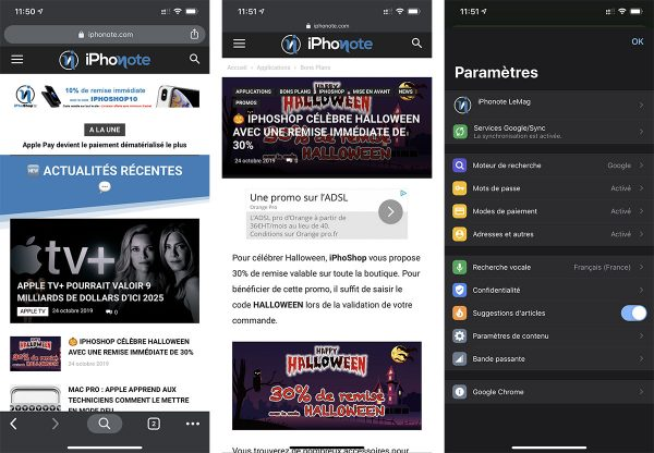 Google Chrome - mode sombre d'iOS 13
