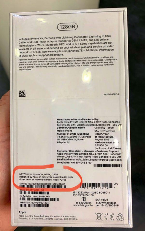 "iPhone XR ""Assembled in India"""