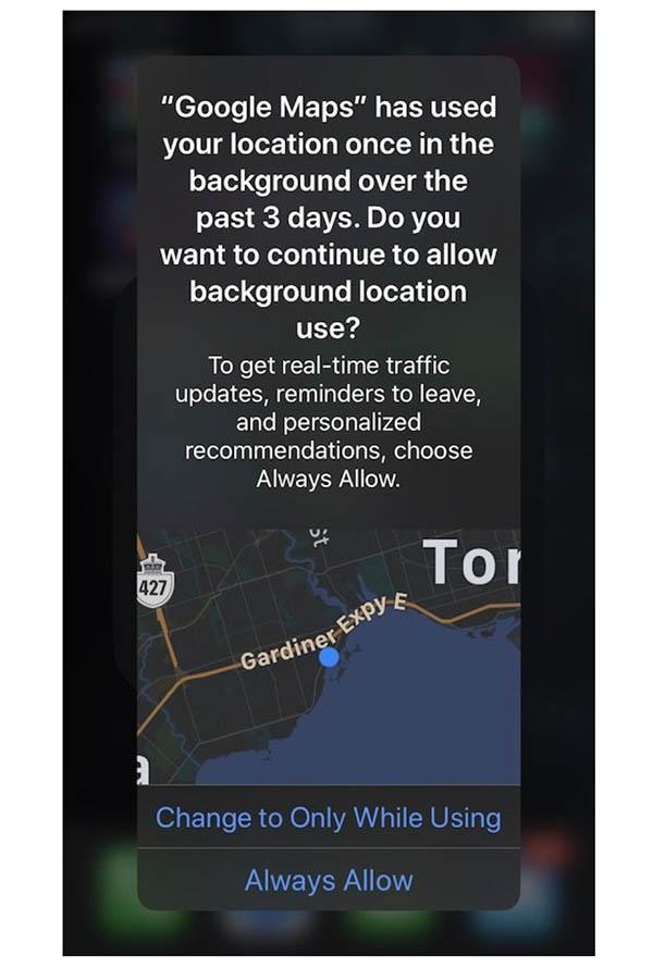 iOS 13 : rappels le suivi de localisation