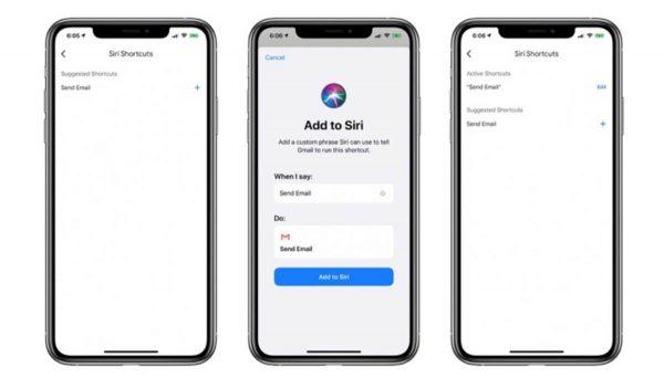 Gmail iOS - raccourcis Siri