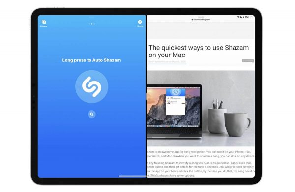 Shazam mode Split View sur iPad