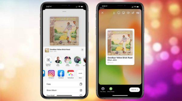 iOS 13.4.5 partage Facebook et Instagram sur Music