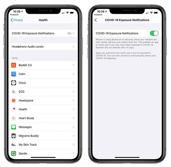 notification d'exposition auCOVID-19sur iOS 13.5