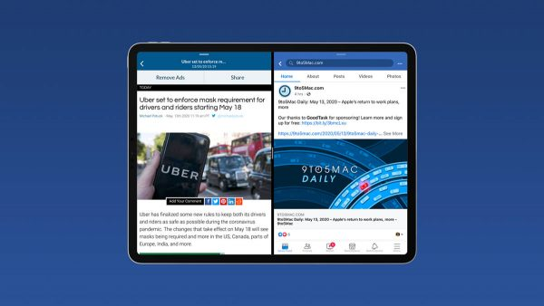Facebook Split View et Slide Over iPad
