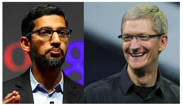 Sundar Pichai (Google) et Tim Cook (Apple)