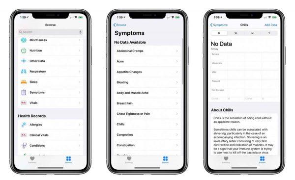 iOS 13.6 - Santé Symptômes