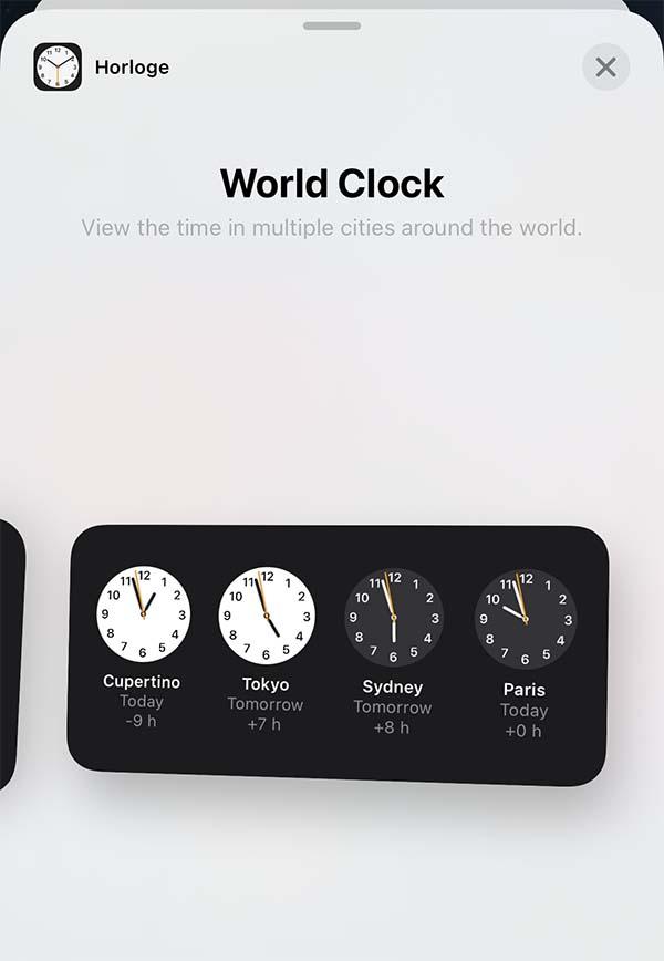 Horloge iOS 14 bêta 3