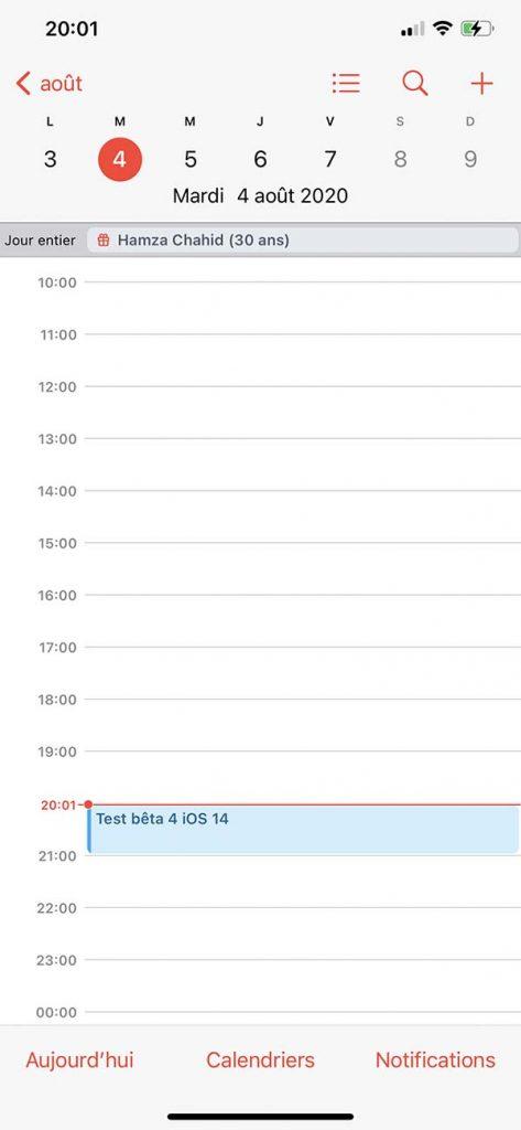 iOS 14 Calendrier
