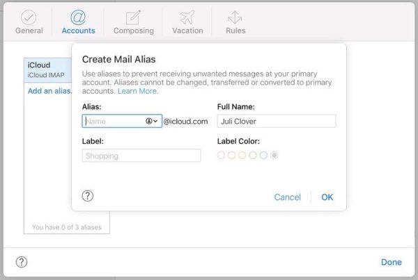 iOS 14 alias mail