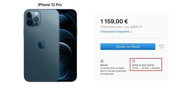 Délais livraison iPhone 12 / 12 Pro