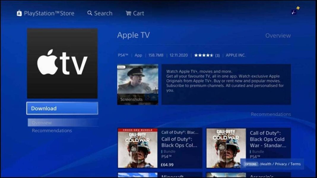 L'application Apple TV est disponible sur le PlayStation Store
