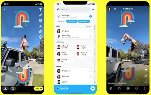 Snapchat défi Tiktok Spotlight