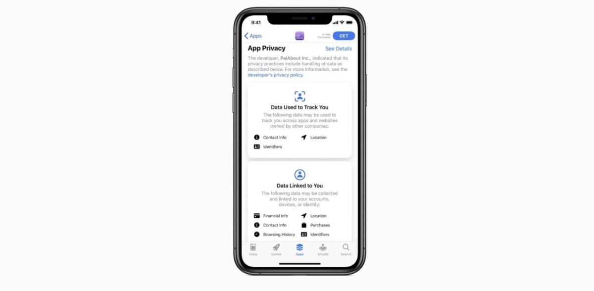 App Store Etiquettes Confidentialite