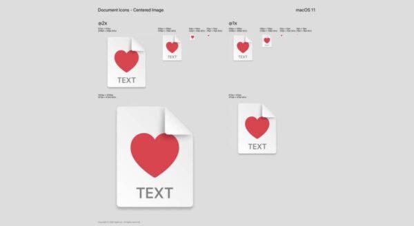 macOS Big Sur icônes document