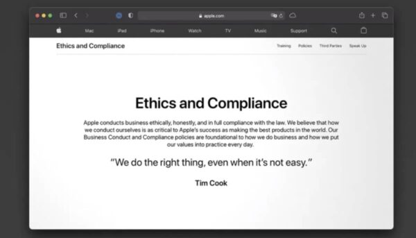 apple ethics and compliance