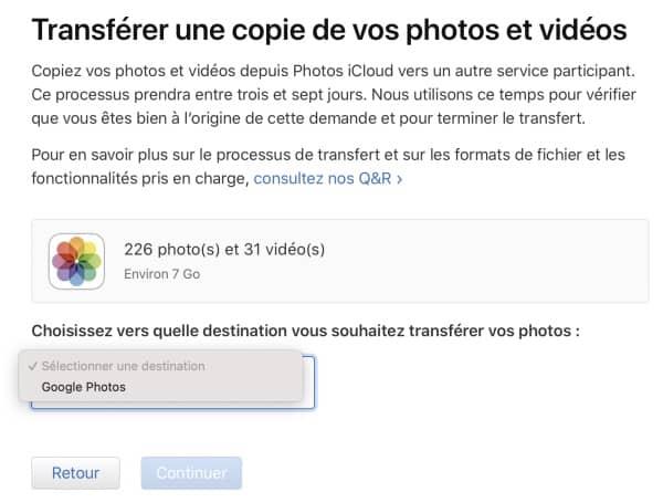 transfert photos icloud google 2