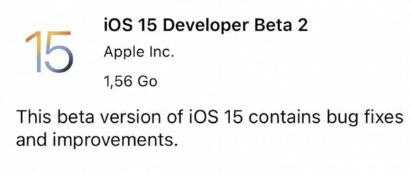 iOS 15 bêta 2, iPadOS 15, watchOS 8, tvOS 15