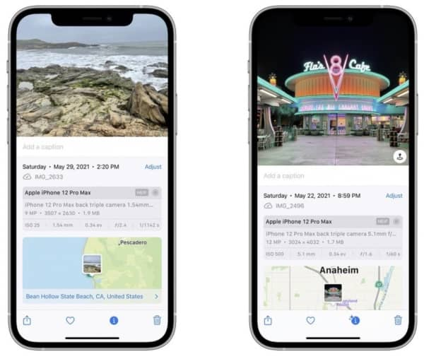 iOS 15, métadonnées EXIF, applications Photos