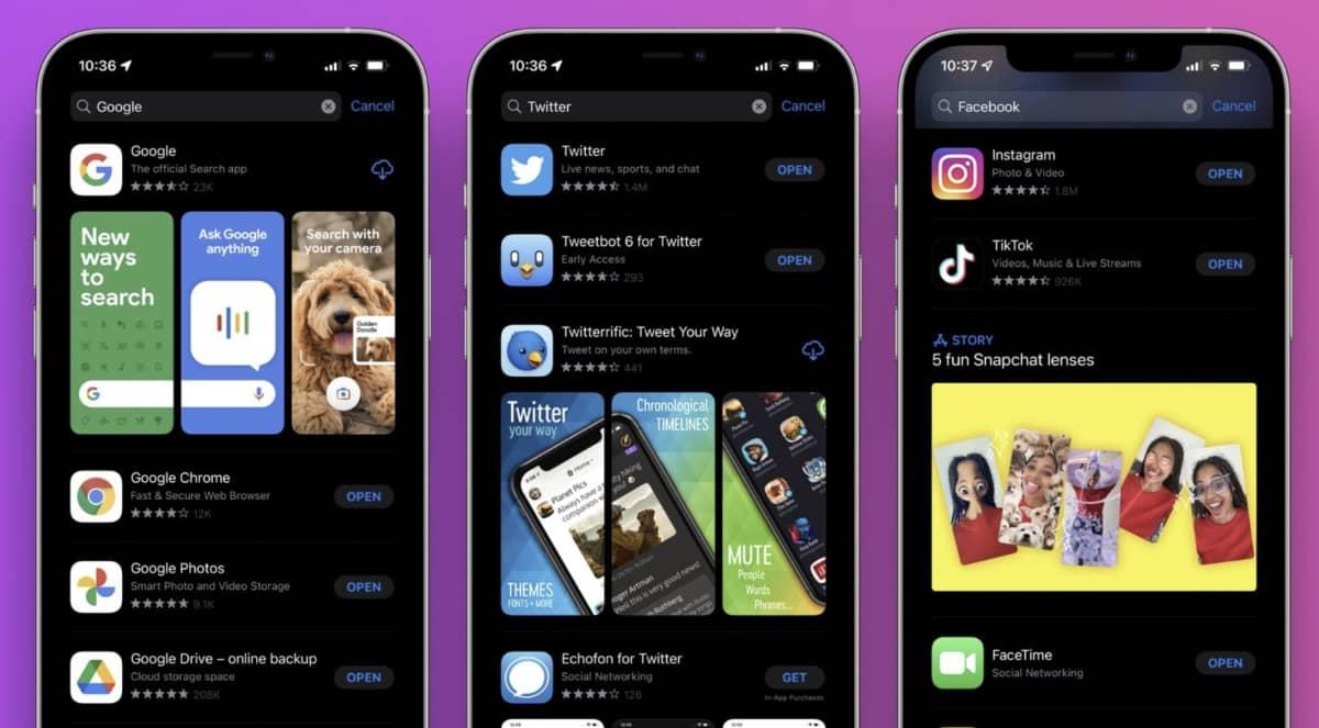 recherche ios 15 app store