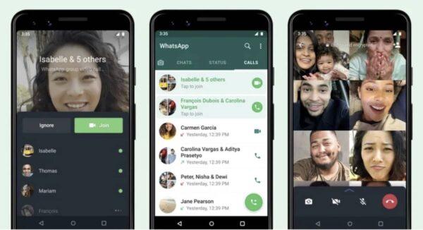 WhatsApp, appel de groupe
