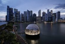 apple nso marina bay sands aerial view