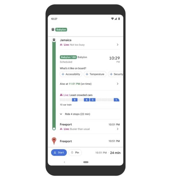 Google Maps, transports en commun