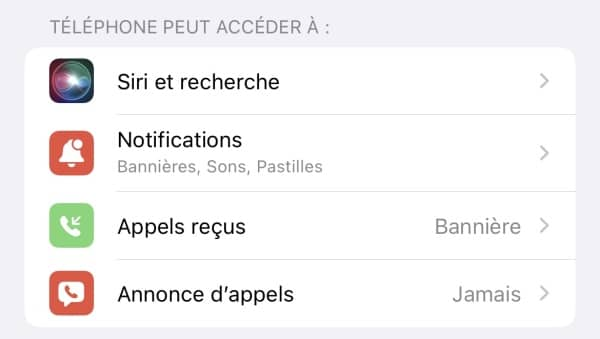 annonce appels ios 15 1