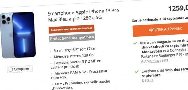 précommande iPhone 13, Boulanger, iPhone 13 Pro, iPhone 13 mini